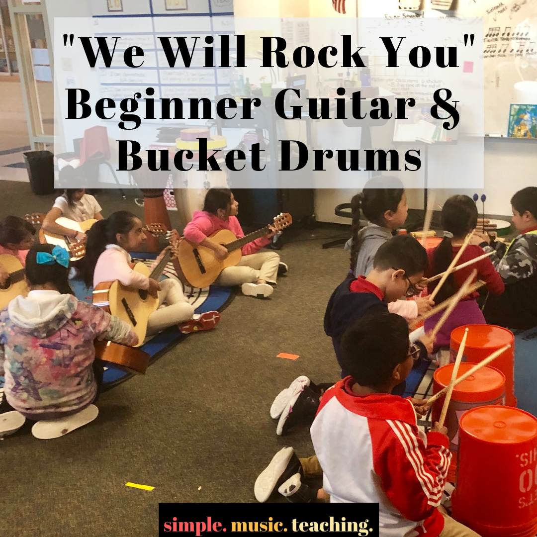 We Will Rock You Bucket Drums Guitar Simple Music Teaching